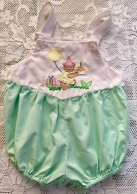 vintage baby toddlers girls overalls romper dress bear pattern sz 12m summer