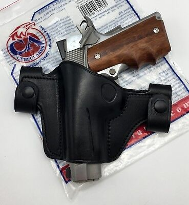 CEBECI LEATHER OWB Belt Snap Black Holster for 1911 4