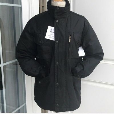 Barbour Sapper Waxed Mens Black Jacket Size Small