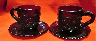 LOT OF TWO AVON 1876 Cape Cod Ruby Red Glass Tea Coffee Cups & Saucers Set
