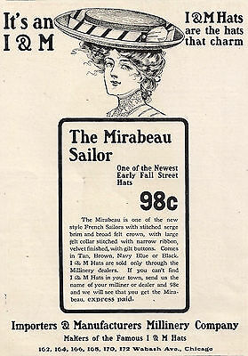 1913 Ad Importers & Manufacturers Millinery I & M Hats Mirabeau Sailor Chicago