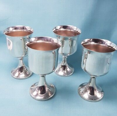 Vintage Ianthe Silver Plated Wine Goblets Set Of Four Made In England Beautiful