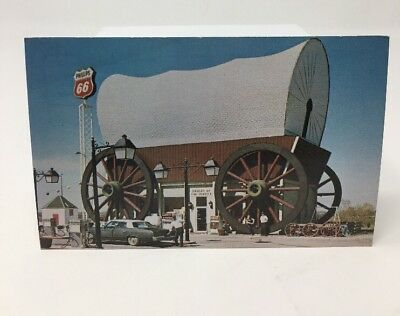POSTCARD Phillips 66 Gas Station Worlds Largest Covered Wagon Milford NE 6920