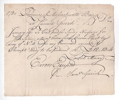 ROGERS RANGERS Fort No. 4 / Crown Point SIGNED 1761 French + Indian War DOCUMENT