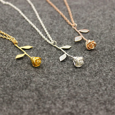 Fashion Women Rose Flower Charm Necklace Pendant Rose Gold Silver Jewelry Gift