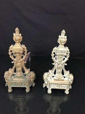 Pair Antique French Brass Andirons Fire Dogs Figural Chenets