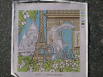 """Paris"" Vintage from 1979 painted needlepoint canvas 14 by 14 square finished"