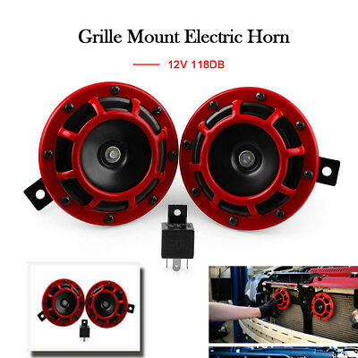 2X Red Loud Compact Electric Blast Super Tone Hella Horn For CAR TRUCK 12V