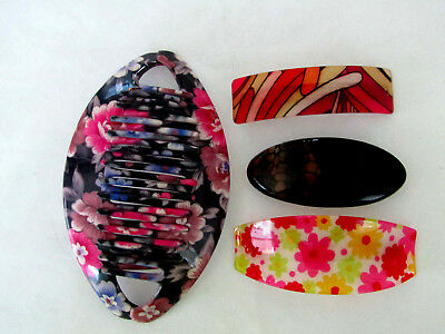 Lot of Women's Hair Accessories-1 Floral Designed Comb & 3 Barrettes