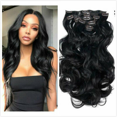 8PC 22'' Wavy Clip in Hair Extensions Synthetic Hairpiece For Bride Wedding Hair