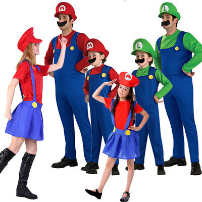 Woman Kids Super Mario Luigi Brothers Cosplay Game Costume Plumber Fancy Dress