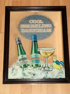 Vintage Babycham - Large Bar Mirror in Wooden Frame - Hand Made In England