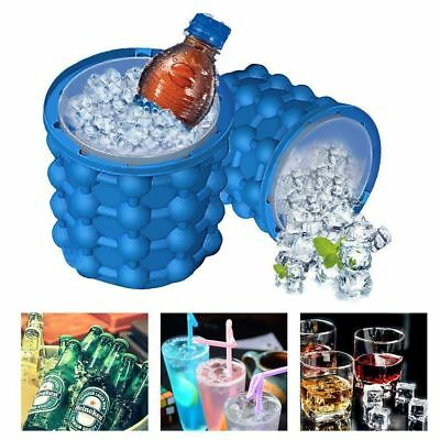 Summer Ice Cube Maker Genie Silicone Ice Bucket Space Saving Ice Cube Tray NEW