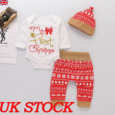 Baby Girl My First Christmas Clothes Romper Tops Pants Hat Christmas Xmas Outfit