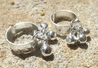 Set of 2 Indian silver tone toe rings adjustable ~ Bollywood belly dance bells