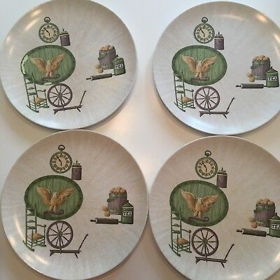 Texas Ware Mid Century Melmac Melamine Dinner Plates Lot of 4