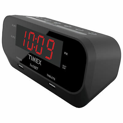 Timex T129BC Redi-Set Dual Alarm Clock with USB Ports - Black BIN#47