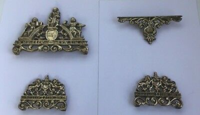 Collection of All 4 Brass Dutch Wall Clock Plaques Say Nu Elck Syn Sin On Them