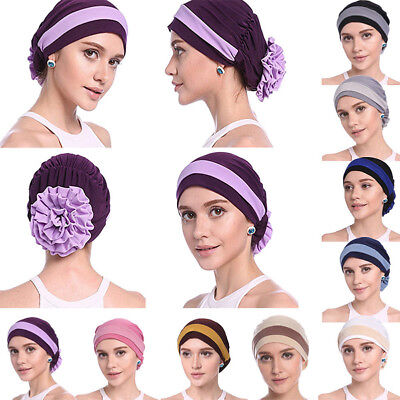 Women Big Flower Muslim Cancer Chemo Hat Turban Cap Cover Hair Loss Head Scarf M