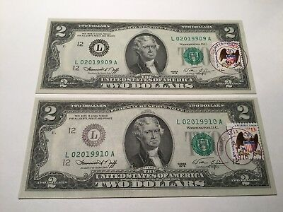 VINTAGE lot OF TWO $2 FIRST 1ST DAY ISSUE 1976 TWO DOLLAR BILLS MONEY JEFFERSON