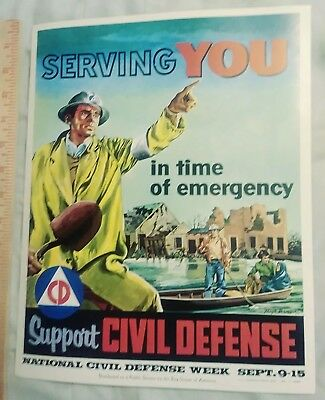 National Civil Defense Week Sept 9-15 1956 Poster Boy Scouts of America BSA