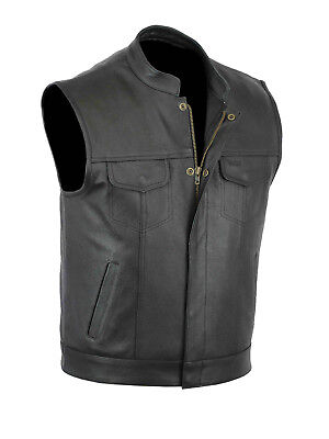 Men Real Leather Son Of Anarchy Motorcycle Waistcoat - Black