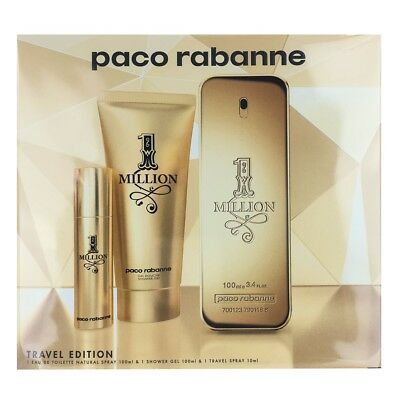 Paco Rabanne 1 Million EDT Spray 3.4 oz & Shower Gel 3.4 oz & EDT Spray 0.34 oz