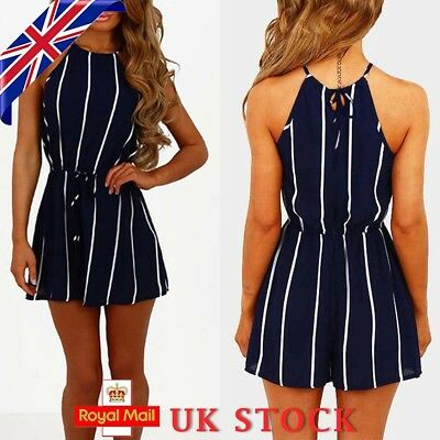 Womens Summer Striped Jumpsuit Shorts Romper Tie Waist Playsuit Holiday Clothes