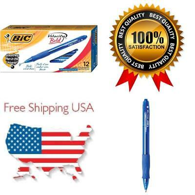 Count 12 Bic Velocity Bold Retractable Ball Pen Bold Point (1.6MM) Blue New US