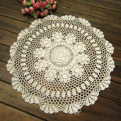Tablecloth Doily Table Cloth Handmade Crochet Lace Cotton Cover Mat Round Home