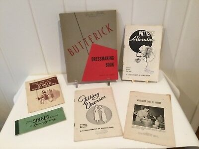 Vintage LOT Sewing Dressmaking Design Books Butterick Singer USDA 1940s - 1960s