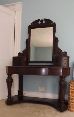 Stunning Original Victorian Solid Mahogany Large Dressing Table With Mirror