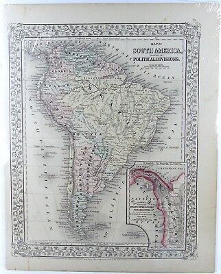 Original 1867 Map South America Constructed & Engraved W. Williams Philadephia