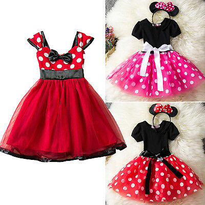 Kids Girl Toddler Disney Minnie Mouse Dress Halloween Party Cosplay Costume 1-7Y