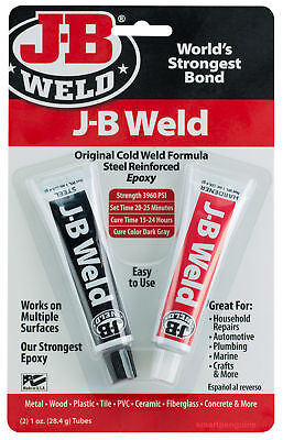 (6) JB Weld Multi Purpose Adhesive Cold-Weld Steel Reinforced Epoxy Tubes #8265