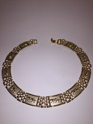 Vintage Gold Tone Link Necklace Egyptian Cleopatra Panther