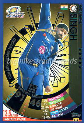 Topps Ipl Cricket Attax 2017 Harbhajan Singh Legend Card Indian Premier League