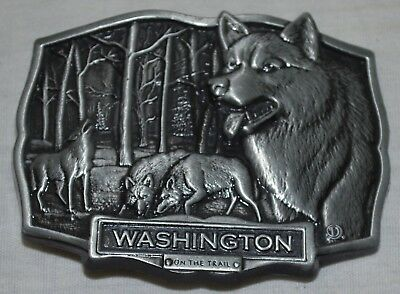 Vintage Wolf Belt Buckle - Washington On The Trail - Stephen Duchene