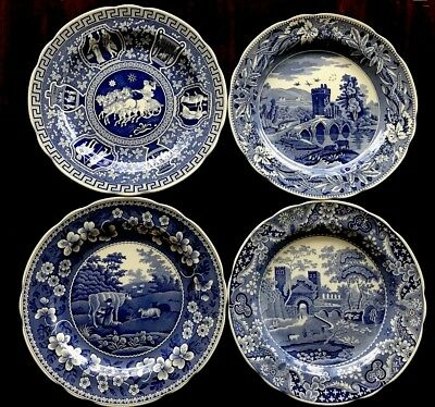SPODE England blue Room Collection Plates Set Of 4 LUCANO GREEK CASTLE MILKMAID