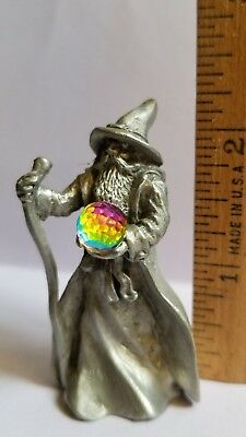 1980's Gallo Pewter Magic Mythical Wizard Holding Crystal Ball Marked M