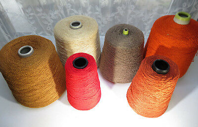 Vintage RAYON BOUCLE YARN CONE LOT of 6 Knitting Machine VALLEY FIBERS