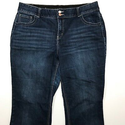 Lane Bryant Bootcut Tighter Tummy Tech Distressed Blue Jeans, Size 20 Long