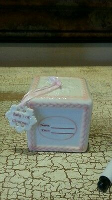 Pink Block Baby Girl 1st First Xmas Tree Ornament New w/Marker for personalize.