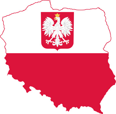 Flag Map of Poland Shaped Country Car Laptop  Die Cut Sticker Decal