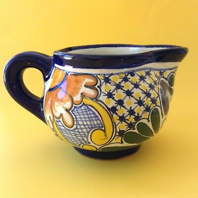 Cheerful Mexican Talavera Handpainted Majolica Folk Art Pottery Ceramic Jug Vase