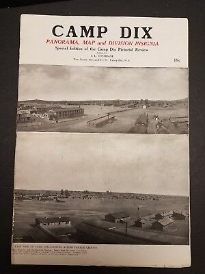 1918 WWI Camp Dix Panorama Map Division Insignia Camp Dix Pictorial Review