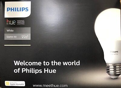 PHILIPS HUE WHITE A19 LED 60W Equivalent Dimmable Starter Kit (455303) 2  Bulb
