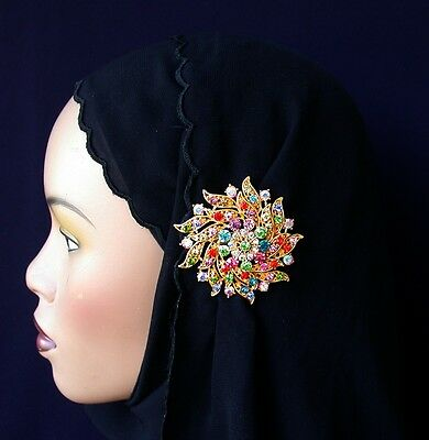 Large Hijab Pin Multi Color Floral Green Abaya RAMADAN Pin Bridal Scarf Pin