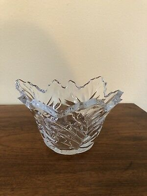 Vintage Clear Pressed Glass Leaf-Shape Bowl /Vase- Thick Glass - Unusual!