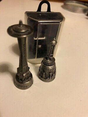 Space Needle Pewter Thimble And Souvenir Figurine